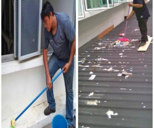 Cleaning Rooftop Of Parking Lot