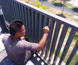 Painting the railing
